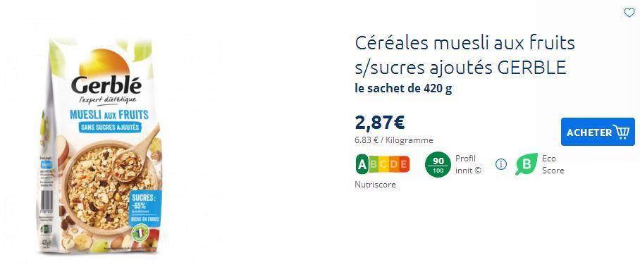 Affichage de l'éco-score sur le site de Carrefour